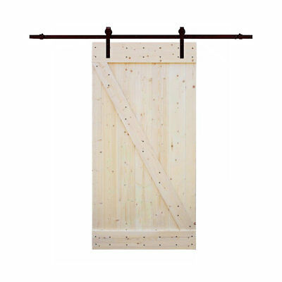 Calhome Solid Wood Panelled Knotty Pine Slab Interior Barn Door CLHM1150
