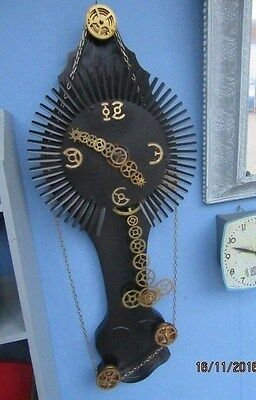 "Upcycled Steam Punk Quartz Clock In Working Order 11.5"" x 30"""