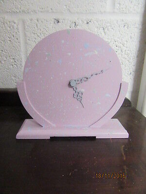"Upcycled Shabby Chic Quartz Clock In Working Order 12"" X 7.5"""