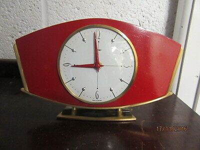 "Upcycled Retro Quartz Clock In Working Order 10"" X 6"""