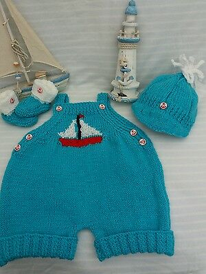 Hand Knitted Baby Boy Sailor Romper outfit to fit age 0-3 month