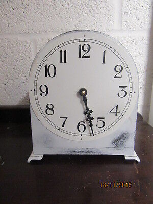 "Upcycled Shabby Chic Quartz Clock In Working Order 8"" X 9"""