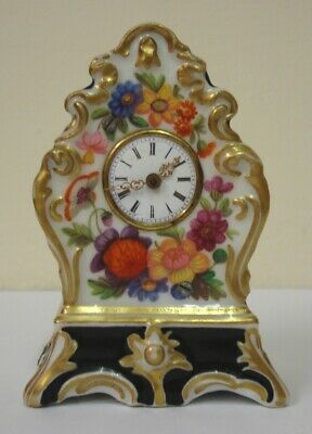 Rare C19th Antique Miniature Porcelain Clock, Floral Pattern Meissen Porcelian?