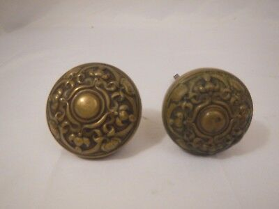 Antique vintage pair brass door knob scroll Art Deco