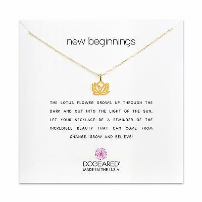 Dogeared Rising Open Lotus New Beginnings Gold Dipped 16 18 Boxed