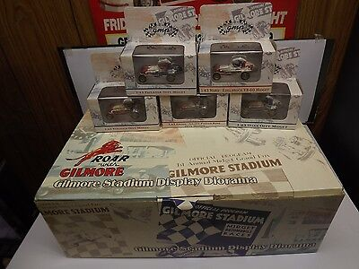 Gilmore Stadium Midget display diorama and all 5 1:43 scale midgets. GMP