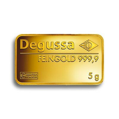 Pure Gold 5 G Degussa Gold Bar 999.9 Pure Gift Investment