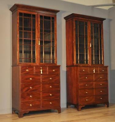 Antique Victorian Pair of Large Mahogany Bookcase Cabinets On Chest Of Drawers