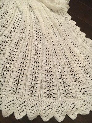 HAND KNITTED WHITE 4ply  BABY BLANKET /  SHAWL NEW! 40'X40'