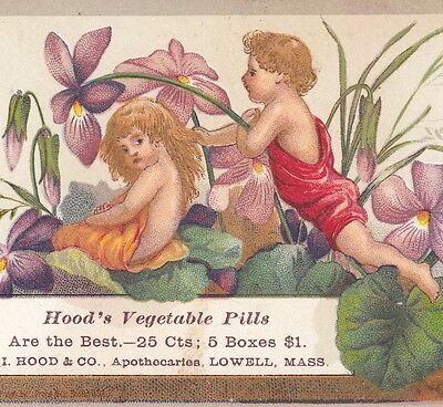 Flower Fairy Lovers 1800's Hoods Olive Ointment Victorian Advertising Trade Card