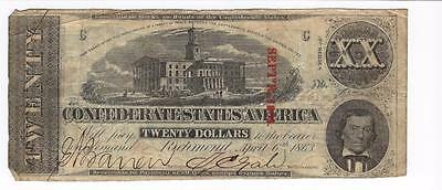 1863 Twenty Dollar $20 Confederate State Of America Richmond Currency Note  Bill