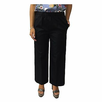 ASPESI black pants woman large with elastic waist e pockets mod H128 D307