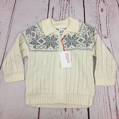 NWT Baby Gap Full Zip Cardigan Sweater 6-12 Months Ivory Gray Snowflake Lined
