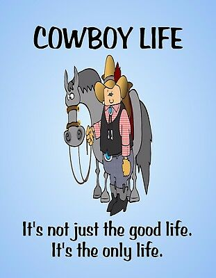 METAL REFRIGERATOR MAGNET Cowboy Life Only Life Horse Western Humor Friend