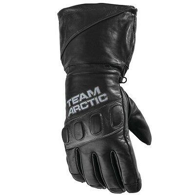 Arctic Cat Adult Team Arctic Hi-Cuff Insulated Leather Gloves - Black - 5262-03_