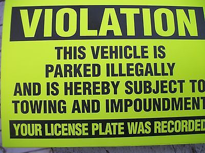 50-Yellow Violation Parked illegally Towing Warning Impound No Parking Stickers