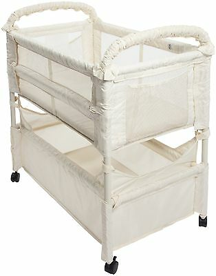 Arms Reach Co-Sleeper Clear-Vue Natural Bedside Bassinet  Missing Anchor G. Used