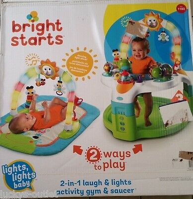 Bright Starts 2-in-1 Laugh & Lights Activity Gym & Saucer Baby Gently Used