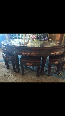Antique Carved Asian Tea Table