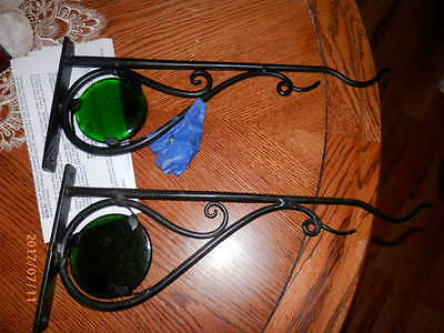 PAIR of WROUGHT IRON PLANT HANGERS with GREEN GLASS DISC ACCENTS