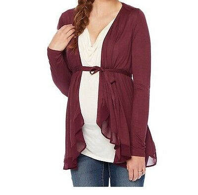 OH BABY MOTHERHOOD Women's Maternity Top Size L Solid Long Sleeve Ivory Burgundy