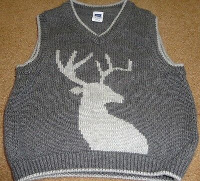 Janie & Jack boys size 12-18 months gray sweater vest Deer on front