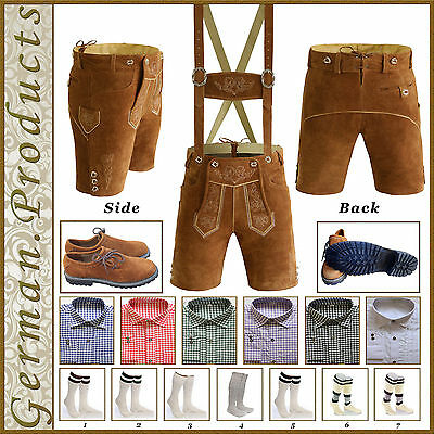 Lederhosen 5 Piece Package German Bavarian Oktoberfest Trachten Real Leather Set
