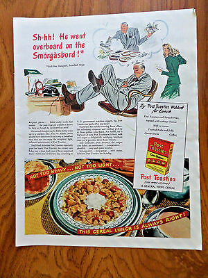 1944 Post Toasties Corn Flakes Cereal Ad He Went overboard on the Smorgasbord