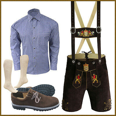 Lederhosen Package German Bavarian Oktoberfest Trachten D Brown Real Leather Set