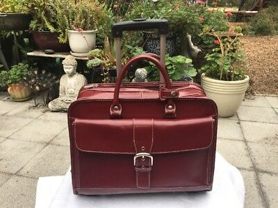 Franklin Covey Rolling Briefcase Laptop Travel Bag Red Leather