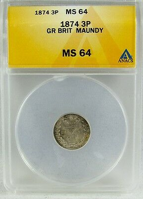 Great Britain 1874 Maundy 3 (Three) Pence Anacs Ms64