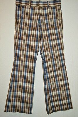 vintage 70s SEARS PUT ON SHOP BOYS BROWN PLAID COTTON FLARE PANTS 29 X 29