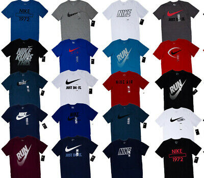 Men's NIKE T-SHIRT S-3XL Graphic Swoosh Just Do It Logo Crew Athletic Fit Tee