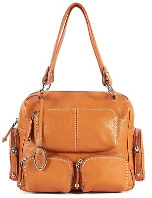 TOD'S Orange Pebbled Leather Silver Hardware Shoulder Bag