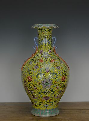 Superb Chinese Enamel Floral Ruyi Head Yellow Ground Porcelain Vase