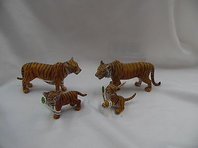 Schleich Tiger Set Male,Female, Cubs Retired Wild Life Figure Toy W/Tags