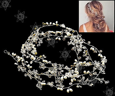 Pearls Wedding Hair Vine Crystal Bridal Accessories Diamante Headpiece Jewelry