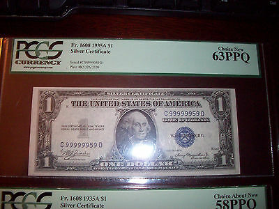 Pair of Ultra High Binary Serial Numbers (2) 1935A PCGS Silver Certificates