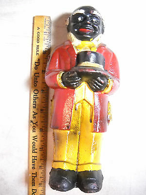 Vintage Cast Iron Bank Uncle Moses 8 Inches Tall Weight Nearly 3 Pounds