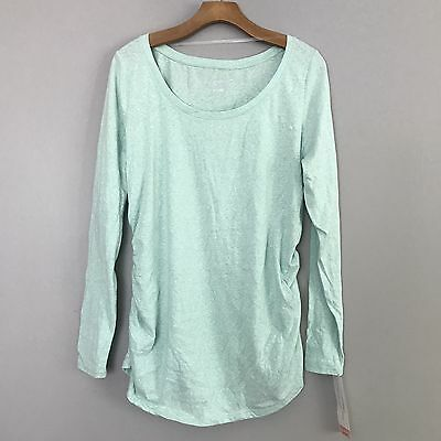 NEW Liz Lange Maternity Mint Green Long Sleeve Top Shirt Blouse Size Large L NWT