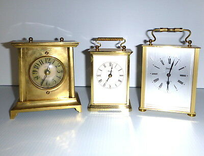 Lot Of 3 Brass Vintage Clocks Carriage Clocks Antique Style
