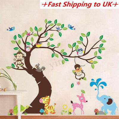Jungle Zoo Animal Tree Wall Stickers Kids Nursery Decal Baby Bedroom Decor Mural