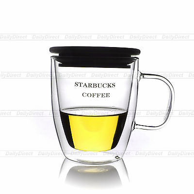 1x 350ml Heat Resistant Double Wall Clear Glass Cup Tea Mug with Bamboo Lid -SB3