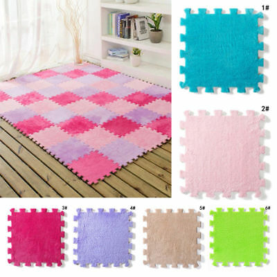 Kids Carpet Foam Puzzle Mat EVA Shaggy Velvet 30*30cm Baby Eco Floor 6 colors