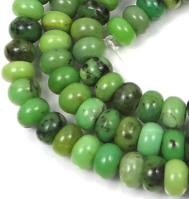 """6x4mm Natural Green Chrysoprase Rondelle Beads 16"""""""