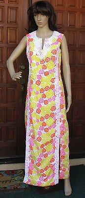 Vintage Lilly Pulitzer The Lilly Sleeveless Maxi Dress Orange Pink Yellow S/M