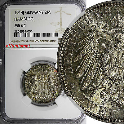 German States HAMBURG Silver 1914 J 2 Mark NGC MS64 Toned Mintage-327,758 KM#612