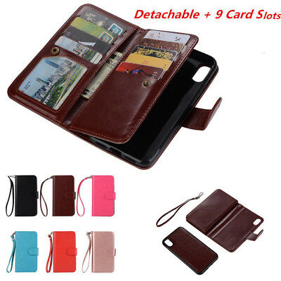 Detachable Magnetic Leather 9 Card Slot Wallet Case Cover For Apple iPhone X