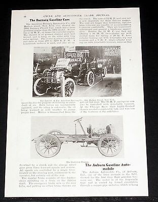 """1903 Old Magazine Article, """"the Darracq Gasoline Cars"""", 16 Hp French Racing Car!"""