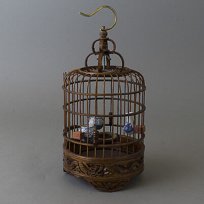 Vtg Chinese Ornate Carved Dragon Birdcage Lacquer Porcelain Pots Bamboo Wood